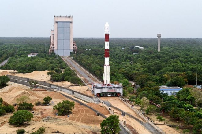 Panoramic View of Fully integrated PSLV-C34 with all the 20 Spacecrafts being moved to second launch pad (SL