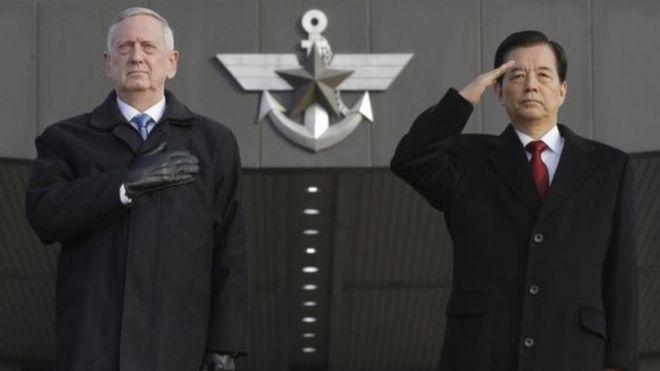 Waziri wa ulinzi nchini Marekani James Mattis na mwenzake wa Korea Kusini Han Min-koo