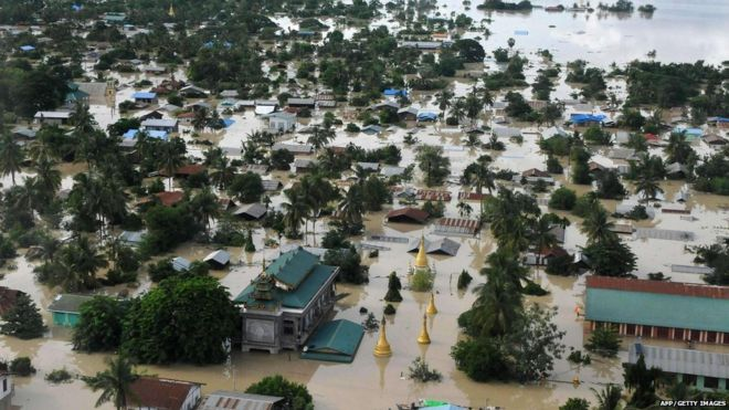 An aerial view shows the flooded area of Kalay, Sagaing Region, Upper Myanmar on August 1, 2015.