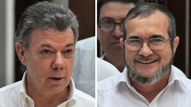 O presidente Santos (à esq.) negociou acordo com o líder das Farc, Timochenko