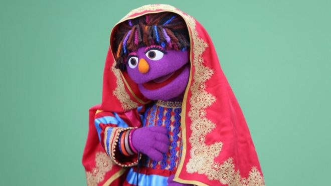 Sesame Street's new Afghan character, a sassy, fun 6-year-old puppet girl called Zari, takes part in a recording session ahead of her television debut