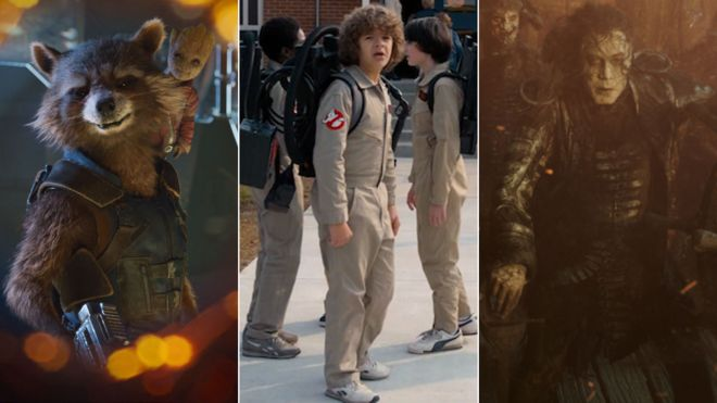 Scenes from Guardians of the Galaxy Vol. 2, Stranger Things and Pirates of the Caribbean: Dead Men Tell No Tales