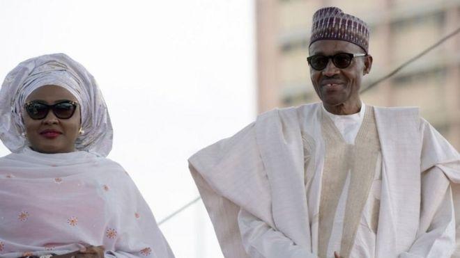Rais wa Nigeria Muhammadu Buhari na mkewe Aisha