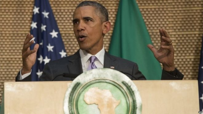 US President Barack Obama delivers a speech at the African Union Headquarters in Addis Ababa on July 28, 2015