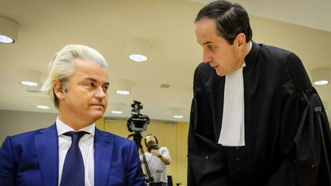 Geert Wilders of the Party for Freedom (PVV) and his lawyer Geert-Jan Knoops (L) prior to his trial, at Schiphol, Badhoevedorp, The Netherlands (18 March 2016)