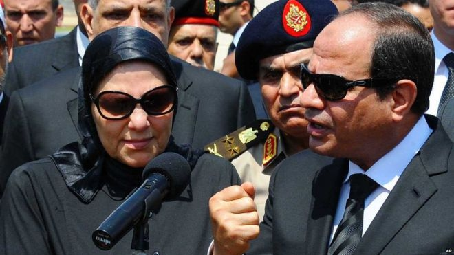Abdul Fattah al-Sisi addresses the funeral of public prosecutor Hisham Barakat in Cairo ( - _83959046_83959041