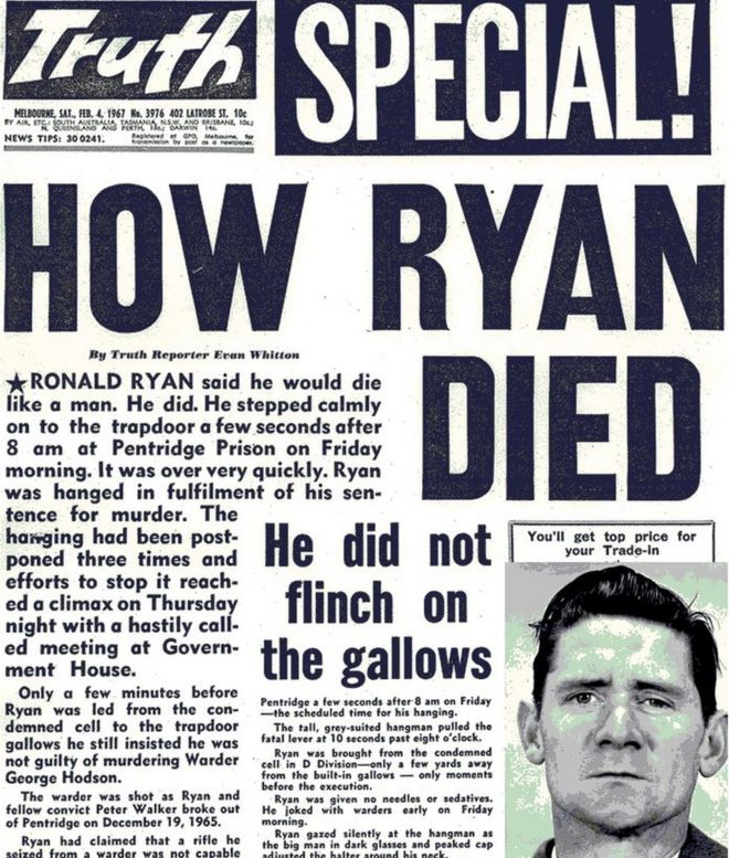 Front page of the Melbourne Truth newspaper on Saturday 4 Feb 1967, reporting Ronald Ryan's hanging.