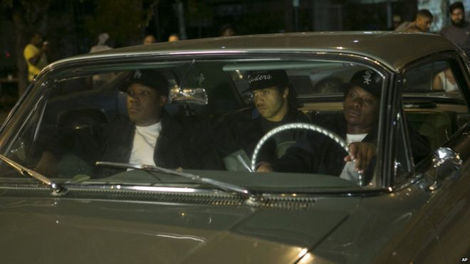 corey hawkins from left as dr dre oshea jackson jr boxed ice office exterior