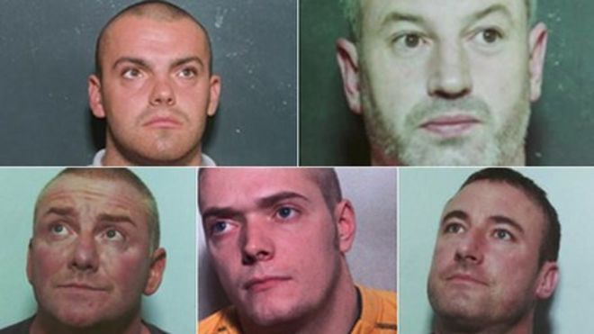 Image caption The men - [clockwise from top left] Kristopher Murray, Scott Mather, James Fox, Joseph Shields and Michael Fernandez - were caught in a series ... - _64495223_cocainegang624
