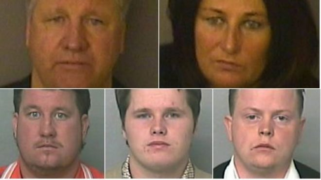 Image caption Members of the Connors family were found guilty after a three-month trial. Pictured clockwise from top left: William, Brida, Miles, James and ... - _64769803_connors