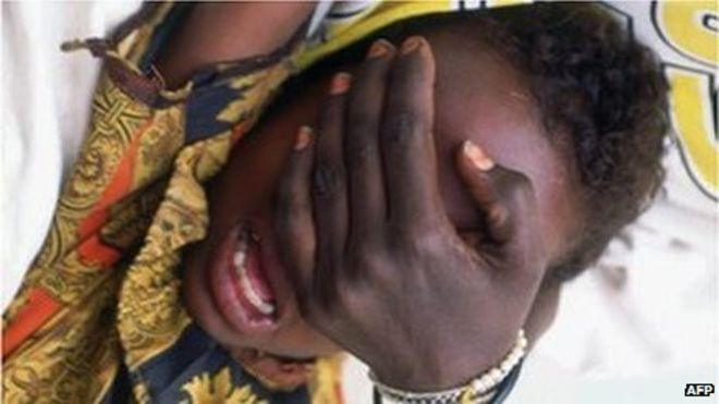 Hudan Mohammed Ali, 6, screams in pain while undergoing circumcision in Hargeisa (archive shot)