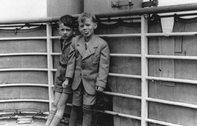 Gerald Granston (right) on the deck of the St Louis