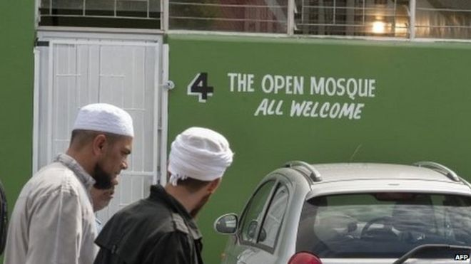 Cape Town pro gay mosque opens in South Africa   BBC News BBC Muslims walk near the entrance of the Open Mosque  on its opening day  on