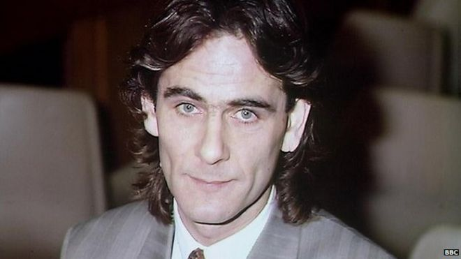 Image caption Paul Hill, seen here on his release 25 years ago - _77919782_paulhill1989bbc