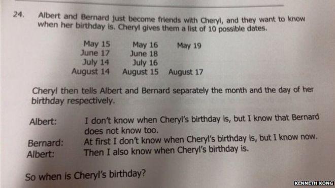 "Photo of the ""Cheryl's Birthday"" logic question"