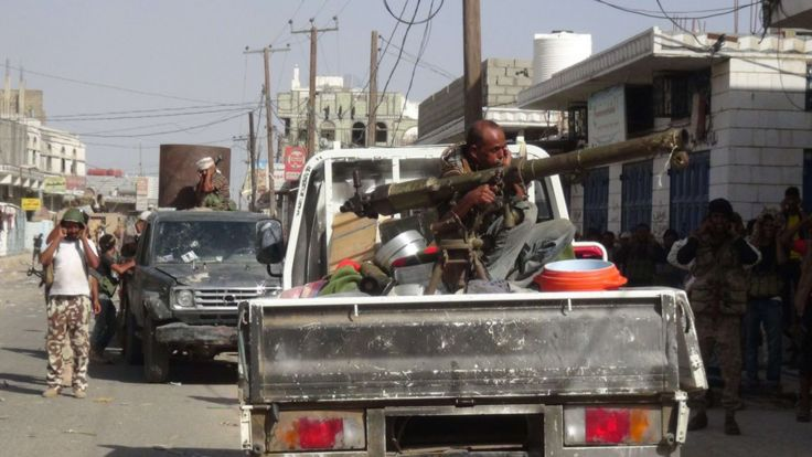 Yemeni pro-government forces backed by a Saudi-led coalition take position in Loder, the last rebel-held town in the southern Abyan province