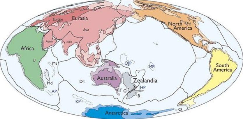 Bản đồ thế giới với Zealandia kế cận châu Úc