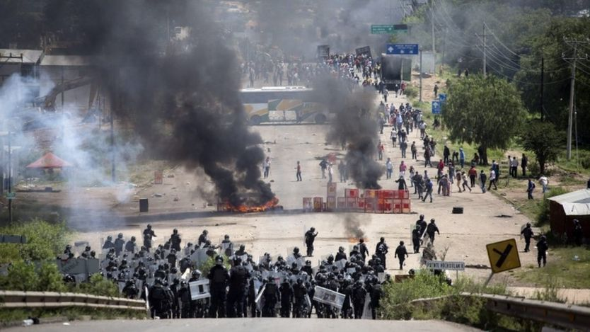 Clashes between teachers and security forces in the town of Nochixtlan, Oaxaca, Mexico