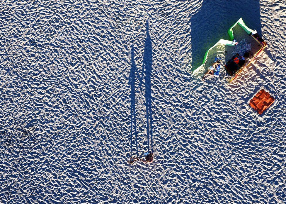 An aerial view of a beach