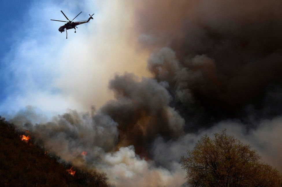 Fire fighters battle the so-called Sand Fire in the Angeles National Forest near Los Angeles, California