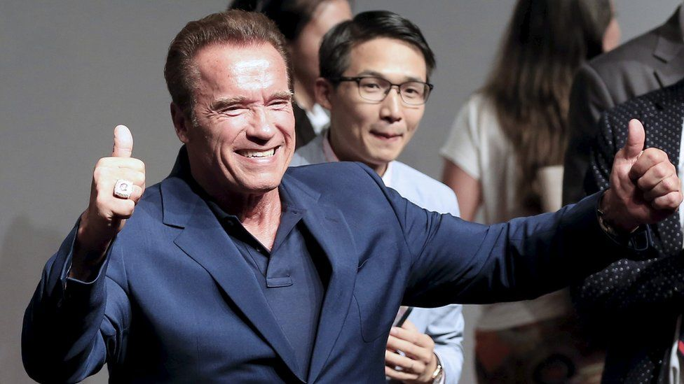 "Actor Arnold Schwarzenegger attends a promotional tour for the film ""Terminator Genisys"" in Shanghai, China, in this file photo taken August 19, 2015"