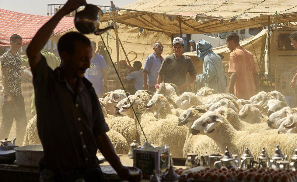A man pouring tea in Lagfaf market near Khouribga, Morocoo - Wednesday 7 September 2016