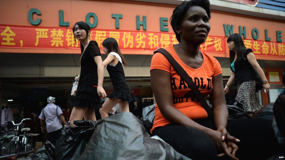 A Zambian vendor outside a wholesale store in China