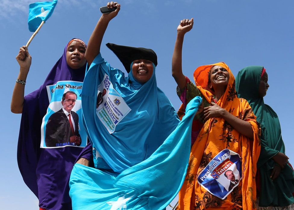 Women celebrating the presidential election result in Mogadishu, Somalia - Thursday 9 February 2017