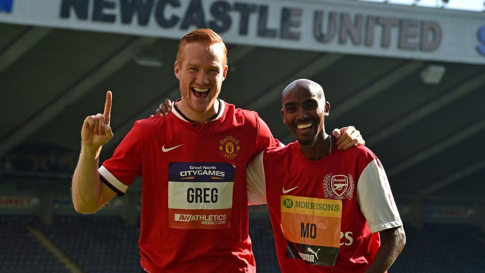 Long jumper Greg Rutherford, left, with distance runner Mo Farah at St James' Park, Newcastle, for a Great North Run preview event