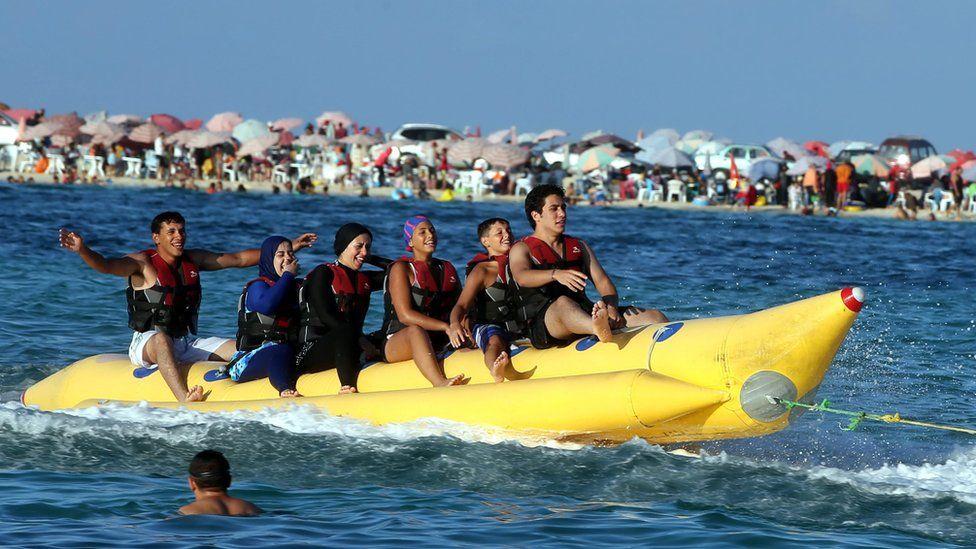 People on a boat in Marsa Matruh, Egypt - Monday 12 September 2016