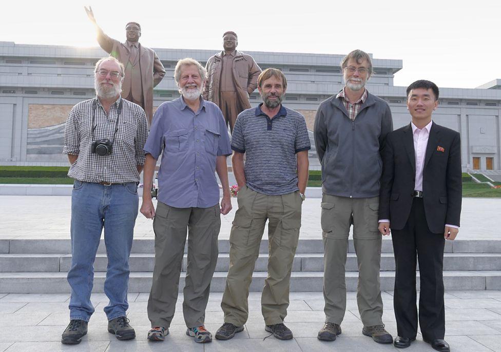 The Pukorokoro Miranda Naturalists' Trust shorebird survey team in Pyongyang, North Korea