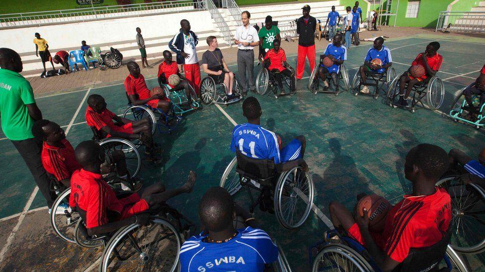 11 Jan, South Sudanese basketball wheelchair players train at the Juba Basketball Court