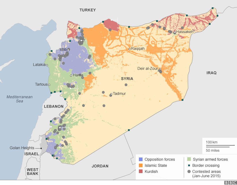Areas of Syria, under control by rebels, Islamic State and Syrian government.
