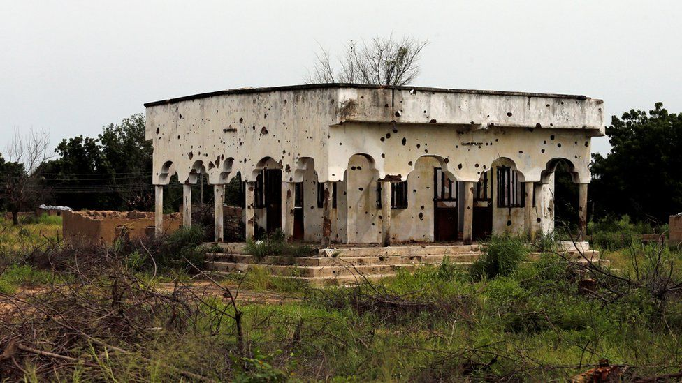 A bullet-ridden mosque in Bama, Borno state, Nigeria - 31 August 2016