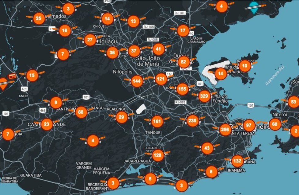 Map of shootouts in Rio, according to Amnesty International