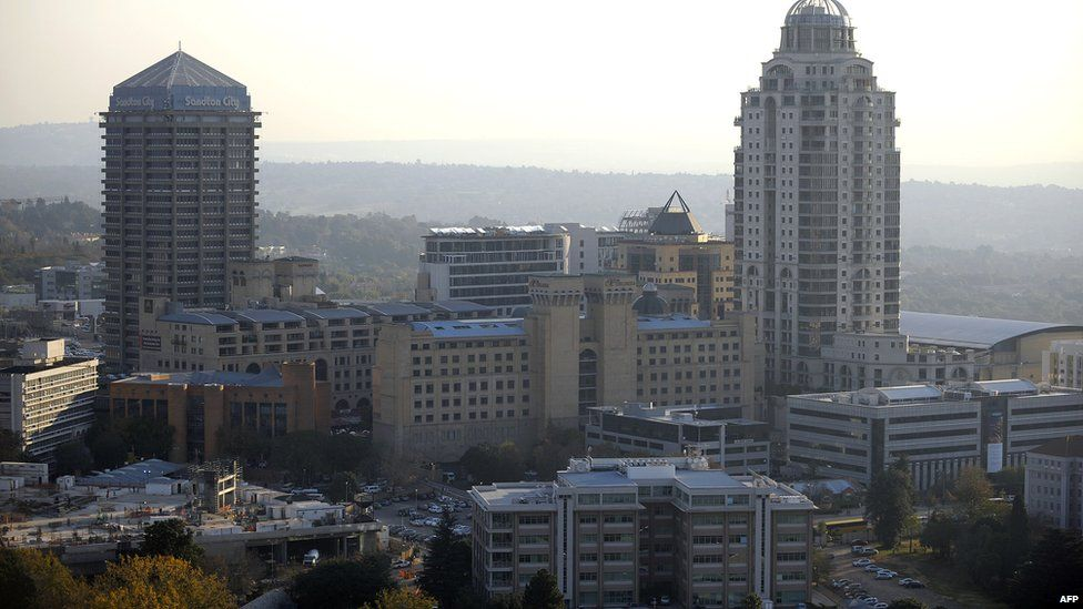 An aerial view of Sandton City, the main commercial and shopping hub in Johannesburg is seen on May 18, 2010