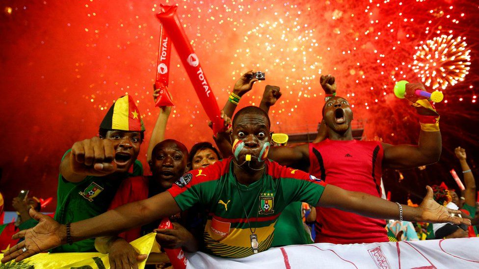 Excited Cameroonian Indomitable Lions football fans in Libreville, Gabon - Sunday 5 February 2017