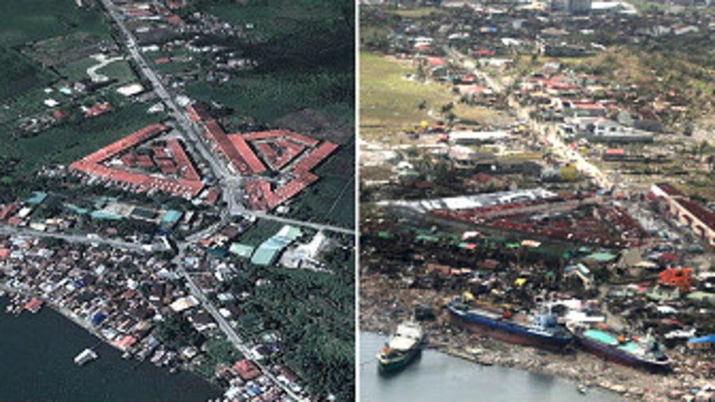 Fotos aéreas mostram litoral das Filipinas antes e depois de tufão ...
