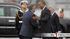 Los presidentes Bronislaw Komorowski y Barack Obama