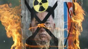 Aksi protes anti Korea Utara di Seoul, Reuters