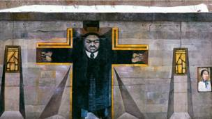 MLK Jr. Mural under the viaduct, South Side Chicago, 1980 by B. Walker