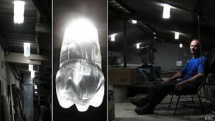 Las lámparas de Alfredo Moser en el techo de su casa