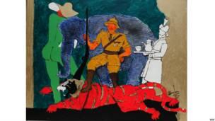 एमएफ़ हुसैन की पेंटिंग