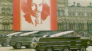Desfile con misiles soviéticos en Moscú en 1989