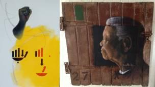 बाएं सूसन वूल्फ की मंडेलाज़ साइन और दूसरी ओर वेलाफ़ी ज़िम्बा की नेल्सन मंडेला - 'लुकिंग टू द फ़्यूचर'