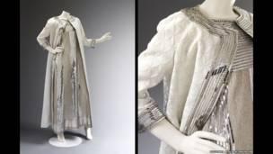 Vestido de malla bordada y abrigo matelasse. Cortesía Maison Mila Schön, Foto © Victoria and Albert Museum, London