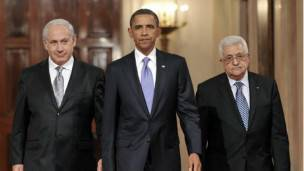 Netanyahu, Obama y Abbas