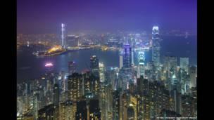 Panorama de la isla de Hong Kong y la vecina Kowloon