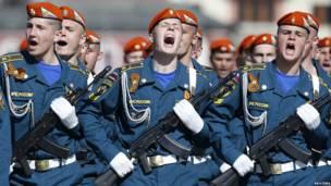 Desfile del ejército ruso
