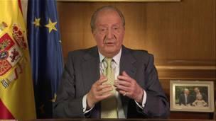 Rey Juan Carlos durante su mensaje televisado